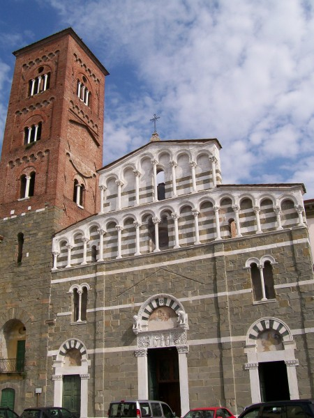 Lucca Italy church of San Pietro Somaldi facade and bell tower